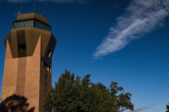 The 20th Operations Support Squadron air traffic control tower sits on the edge of the flightline at Shaw Air Force Base, S.C., Oct. 18, 2018.