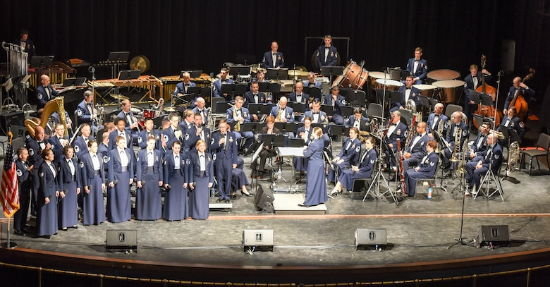 The U.S. Air Force Concert Band and the Singing Sergeants performed on stage at Murphey Performance Hall in San Angelo, Texas, Oct. 22, 2018. The Concert Band and Singing Sergeants are two of six performing ensembles within the Air Force Band. (U.S. Air Force photo by Aryn Lockhart/Released)