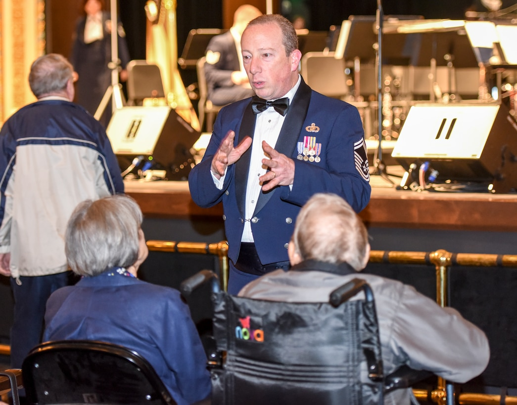 U.S. Air Force Senior Master Sgt. Jay Heltzer, Air Force Concert Band premier bandsman, speaks to members of the audience about the mission and purpose of the Air Force Band at the Murphey Performance Hall in San Angelo, Texas, Oct. 22, 2018. The mission of the Air Force Band is to honor those who served, inspire American citizens to heightened patriotism and service, and positively impact the community on behalf of the Air Force and United States of America. (U.S. Air Force photo by Aryn Lockhart/Released)