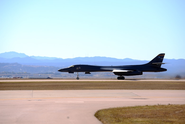A B-1 takes off to participate in Combat Raider 19-1 at Ellsworth Air Force Base, S.D., Oct. 17, 2018. During Combat Raider 19-1, all three types of bombers flew together over the Powder River Training Complex for the first time. All 8th Air Force bases were represented in the exercise. (U.S. Air Force photo by Tech. Sgt. Jette Carr)