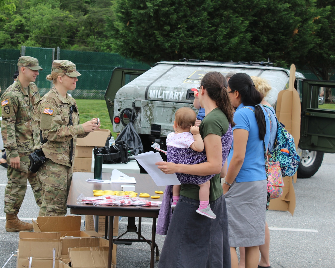 Soldiers from the 200th Military Police Command brought a Humvee for kids to explore and educated visitors about their command and the serving in the U.S. Army Reserve.