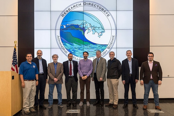 (L to R) Dr. Adam Tagert Technical Lead of SoS; Dr. William Scherlis, Carnegie Mellon University; Dr. Perry Alexander, University of Kanas; Dr. Munindar Singh, North Carolina State University; Dr. Jonathan Aldrich, Carnegie Mellon University Dr. William Sanders, University of Illinois Urbana Champaign; Dr. David Nicol, University of Illinois Urbana Champaign; Dr. Xenofon Koutsoukos, Vanderbilt University; & Dr. Serge Egelman, International Computer Science Institute.