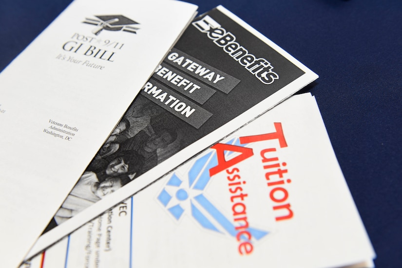 Pamphlets regarding educational benefits are displayed as part of the 2018 Fairchild Air Force Base Education Fair at Fairchild Air Force Base, Washington, Oct. 18, 2018. The education fair provided information regarding Tuition Assistance and other education benefits available to Airmen looking to further their education. (U.S. Air Force photo/ Airman 1st Class Lawrence Sena)