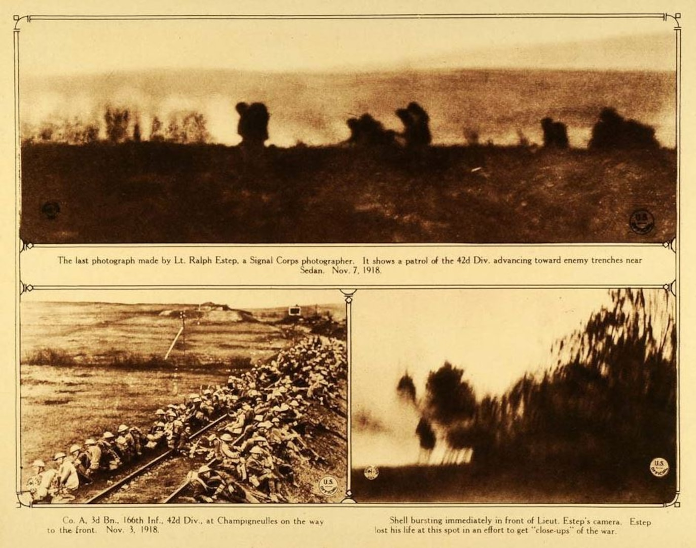 A montage of several of 1st Lt. Ralph E. Estep's final photos, taken in the moments before he was killed in action Nov. 7, 1918, near Sedan, France. (U.S. Army photos by 1st Lt. Ralph E. Estep)