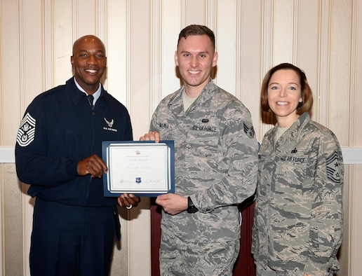 U.S. Air Force Senior Airman Lane McCall, 86th Communications Squadron client systems technician, receives his award after winning the Air Force's We Are Airmen: Recruiting Video Contest at Washington, D.C., Sept. 17, 2018. McCall creates multimedia productions as a hobby, and runs a social media page where he publishes his products.