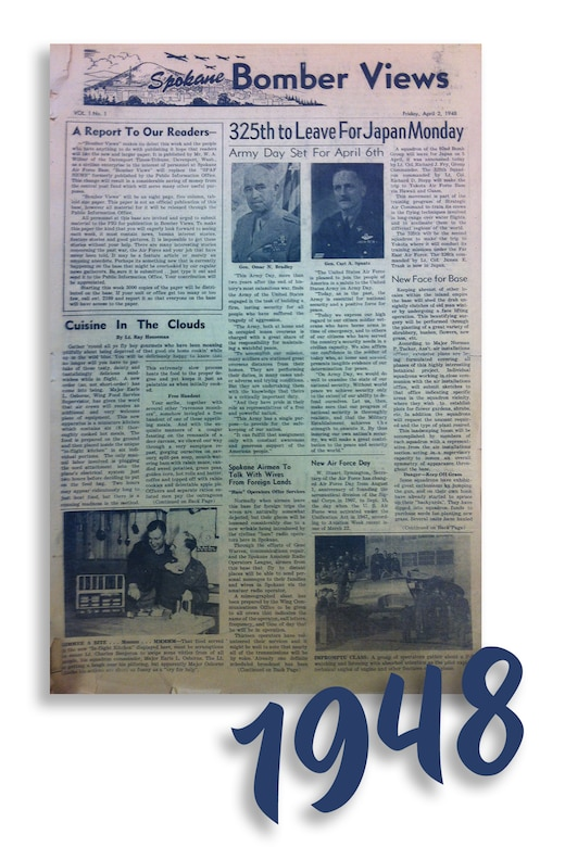 "Spokane Bomber Views, Vol. 1 - No. 1, published Friday, April 2, 1948. ""325th to Leave For Japan Monday."" (Courtesy Photo)"