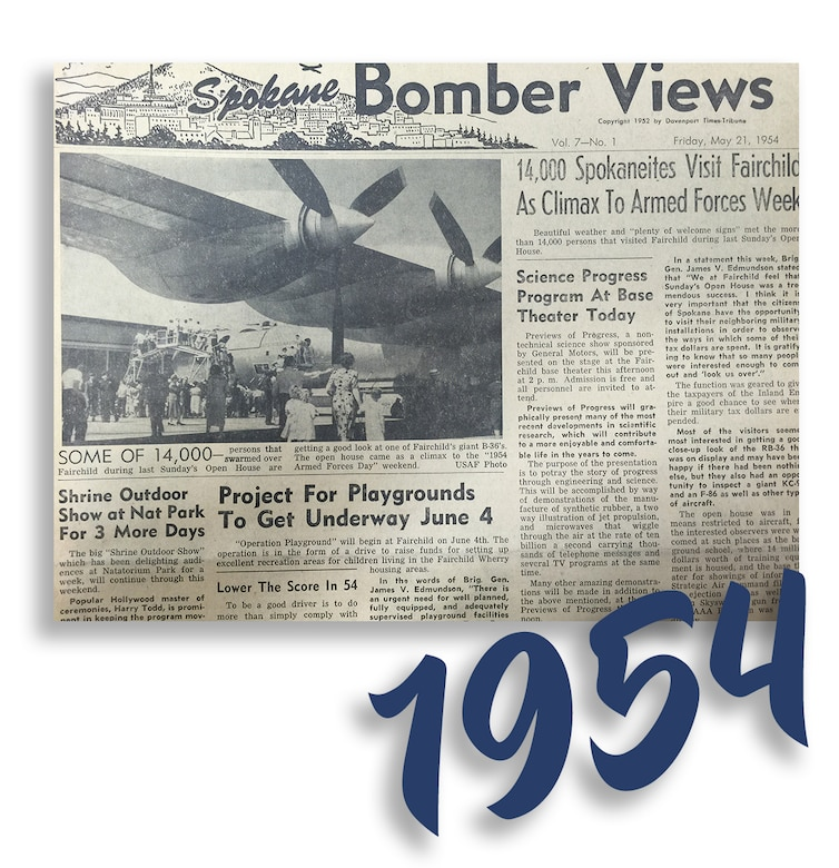 "Spokane Bomber Views, Vol. 7 - No. 1, published Friday, May 21, 1954. ""14,000 Spokaneites Visit Fairchild As Climax To Armed Forces Week."" (Courtesy Photo)"