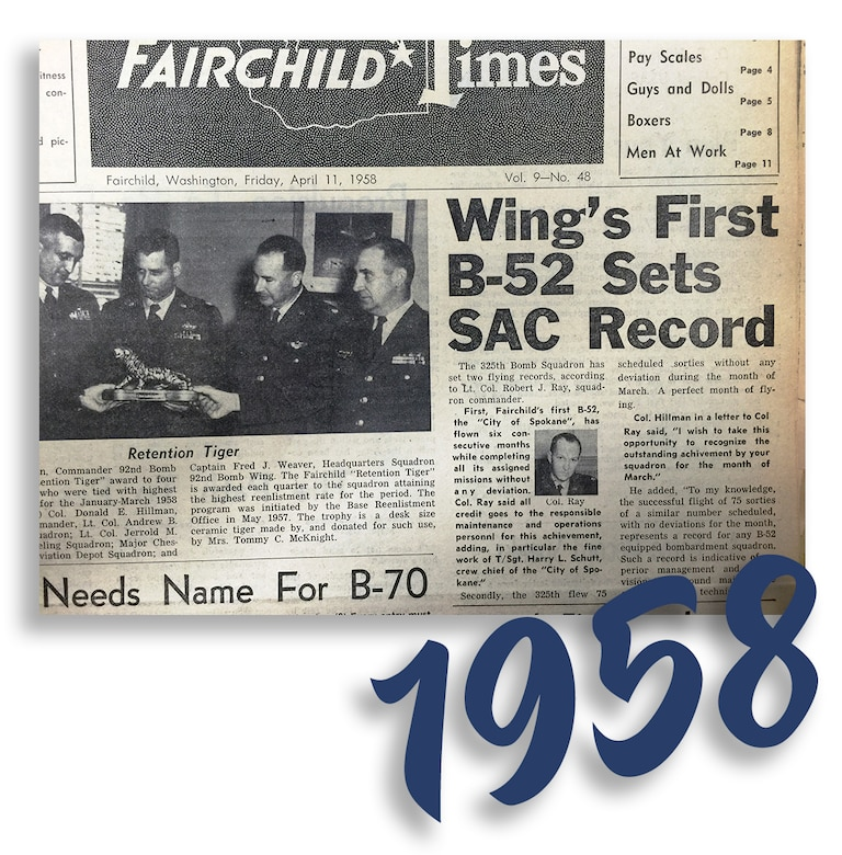 "Fairchild Times, Vol. 9 - No. 48, published Friday, April 11, 1958. ""Wing's First B-52 Sets SAC Record."" (Courtesy Photo)"