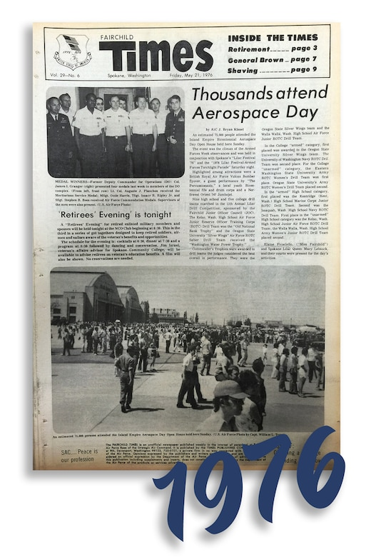 "Fairchild Times, Vol. 29 - No. 6, published Friday, May 21, 1976. ""Thousands attend Aerospace Day."""