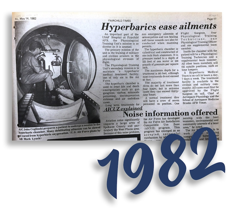 "Fairchild Times, published Friday, May 14, 1982. ""Hyperbarics ease ailments."" (Courtesy Photo)"