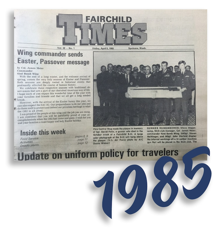 "Fairchild Times, Vol. 38 - No. 1, published Friday, April 5, 1985. ""Wing commander sends Easter, Passover message."" (Courtesy Photo)"