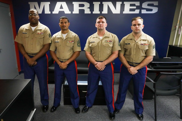 U.S. Marines with prior service recruiting pose for a group photo during a grand opening ceremony on Naval Air Station Joint Reserve Base, in Fort Worth, Texas Oct. 15. 2018. The grand opening ceremony commemorates the opening of new office space for prior service recruiters on NAS JRB. The office space will assist the unit in its mission to recruit prior service members in support of the 8th Marine Corps District's recruiting efforts. (U.S. Marine Corps photo by Lance Cpl. Desmond K. Andrews)