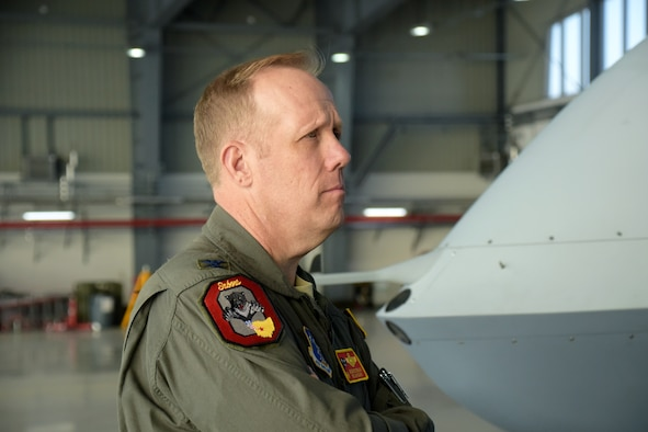 Col. Gregg Hesterman, the 178th Wing commander, visits Mirosławiec Air Base, Poland, to learn more about Clear Sky 2018, Oct. 11, 2018. Six Airmen from the 178th Wing participated in this exercise.