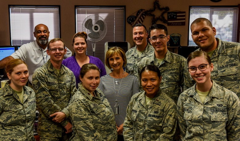 Airmen from the 9th Comptroller Squadron pose for a photo at Beale Air Force Base, California, Sept. 9, 2018. (U.S. Air Force photo by Senior Airman Justin Parsons)