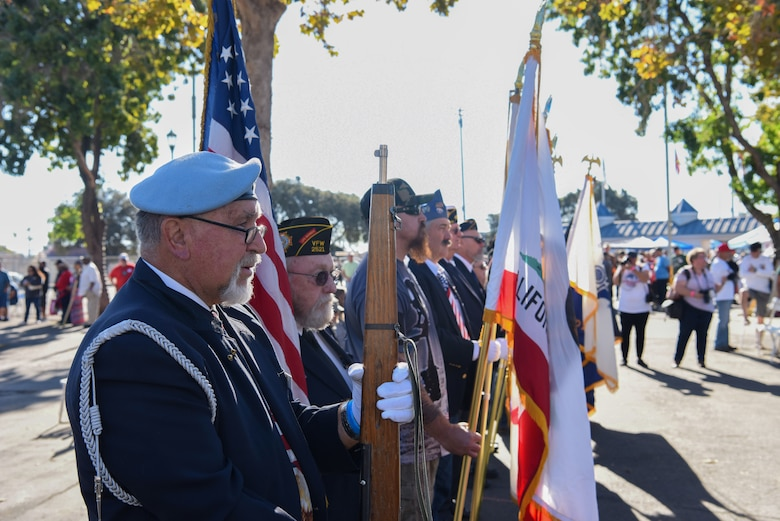 Local veterans post the colors at the Veteran Stand Down event Oct. 20, 2018 at the Santa Maria Fair Grounds, Calif. Posting the colors is a tradition that starts an event, and local veterans had the honor to do it during the Stand Down event.