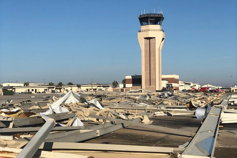 Damage at Tyndall Air Force Base after Hurricane Michael.