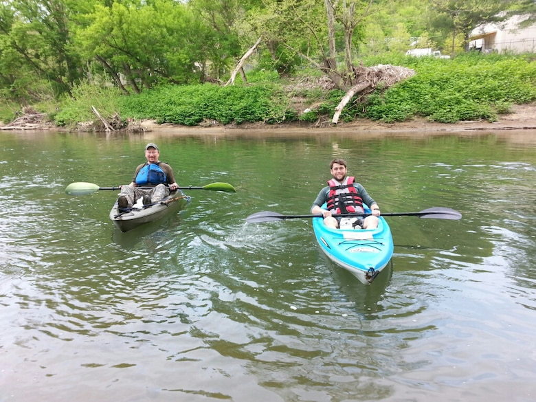 Bruce Rogers (Left) and William Mackie, geoogists in the U.S. Army Corps of Engineers Nashville District, begin canoeing on the Cumberland River in Harlan, Ky., May 4, 2018 on Leg 1 of a 650.4-mile journey of the Cumberland River. The objective of navigating the waterway was to celebrate the 130th Anniversary of the U.S. Army Corps of Engineers Nashville District, reflect on the development of the Cumberland River Basin, remember the past, enjoy the present, and dream about the future of the waterway that is vitally important to the region. (USACE Photo)