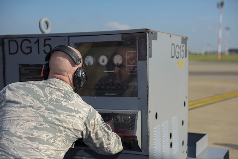 U.S. Air Force Staff Sgt. Randy Duncan, 95th Reconnaissance Squadron RC-135 electronic warfare craftsman, starts a generator for a RC-135 Rivet Joint at RAF Mildenhall, England, Oct. 16, 2018.
