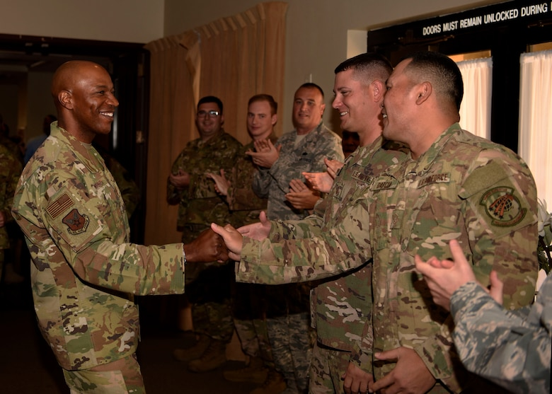 Chief Master Sgt. of the Air Force Kaleth O. Wright meets Airmen during a meet and greet at Club 5/6, Oct. 22, 2018 at Luke Air Force Base, Ariz.
