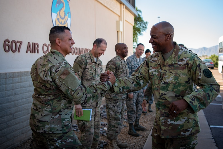 Members from the 607th Air Control Squadron greet Chief Master Sgt. of the Air Force Kaleth O. Wright, Oct. 22, 2018 at Luke Air Force Base, Ariz.