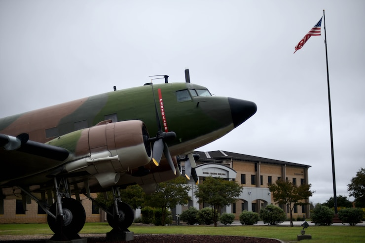 A C-47A modified to depict an EC-47Q on display near the Norma Brown building on Goodfellow Air Force Base, Texas, Oct. 24, 2018. U.S. Air Force Tech. Sgt. Raymond Leftwich flew and died in an EC-47 during the Vietnam War. (U.S. Air Force photo by Senior Airman Randall Moose/Released)