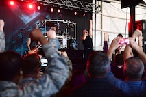 Disturbed performs for Creech Air Force Base Airmen Oct. 23, 2018. Disturbed came to Creech via the USO and performed a concert for Creech Airmen after learning about the wing mission. (U.S. Air Force photo by Senior Airman Christian Clausen)