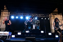 Disturbed performs for Creech Air Force Base Airmen Oct. 23, 2018. Disturbed partnered with the USO to perform a concert for Creech Airmen after learning about the wing mission. (U.S. Air Force photo by James Thompson)