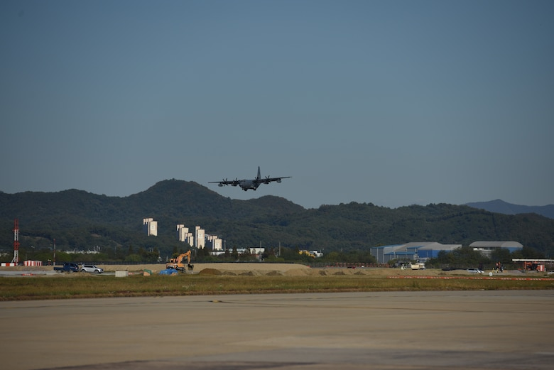 An HC-130 Combat King lands at Osan Air Base, Republic of Korea, after completing a routine training mission Oct. 22, 2018. The Combat King is the U.S. Air Force extended-range, search and rescue/combat search and rescue version of the C-130 Hercules military transport aircraft. (U.S. Air Force photo by Senior Airman Kelsey Tucker)