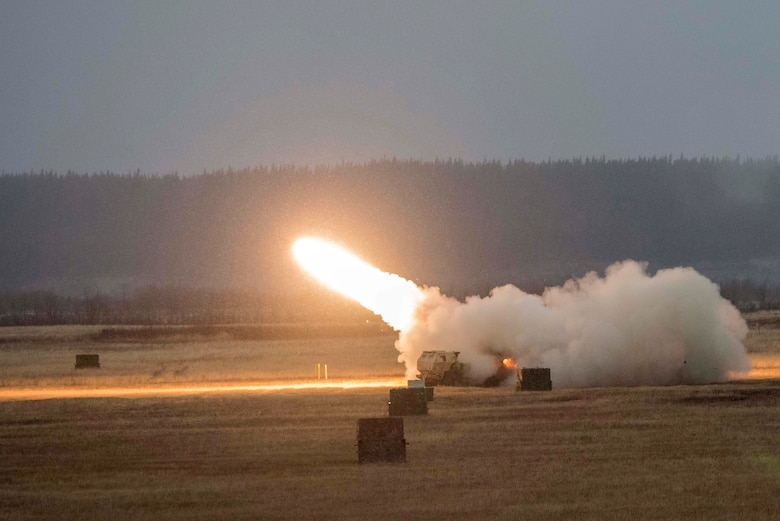 U.S. Army Soldiers assigned to Alpha Battery, 3rd Battalion, 27th Field Artillery Regiment (HIMARS), 18th Field Artillery Regiment, Fort Bragg, N.C., fire a M142 High Mobility Artillery Rocket System at Fort Greely, Alaska, Oct. 19, 2018, during Red Flag-Alaska 19-1. Their unit was tasked to provide long-range artillery support during RF-A, allowing the unit to showcase its capabilities and develop relationships with other services. Some capabilities of the M142 HIMARS include long-range lethality, the ability to be loaded unto an aircraft and flown anywhere location in the world, and extreme range precision to reduce collateral damage.