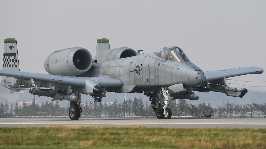 A U.S. Air Force A-10 Thunderbolt II from the 25th Fighter Squadron prepares to take off at Osan Air Base, Republic of Korea, Oct. 22, 2018. A-10s participated in routine training aimed at sharpening skills needed for search and rescue operations.
