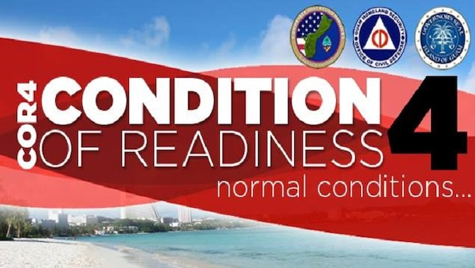 Tropical Cyclone Conditions of Readiness four normal conditions.