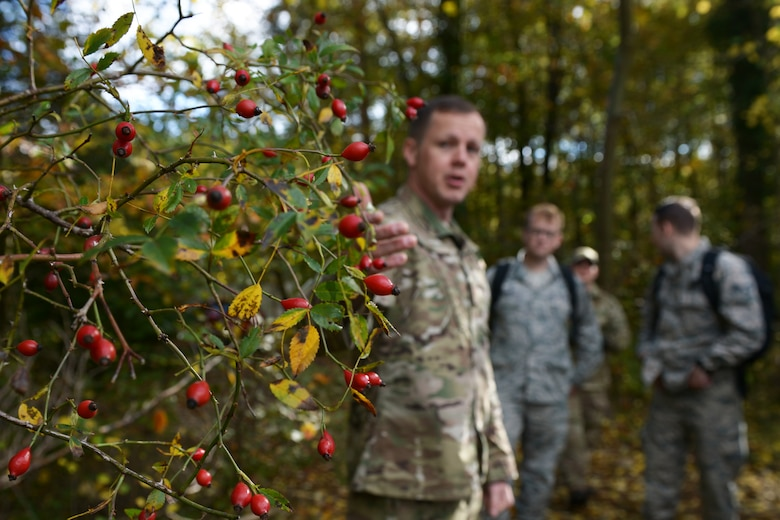 Airmen are taught how to find natural edible resources at a Survival, Evasion, Resistance and Escape training program at Royal Air Force Lakenheath, England, Oct. 18, 2018. Participants of the training were challenged to overcome food aversion by eating berries and insects found in the woods. (U.S. Air Force photo by Airman 1st Class Shanice Williams-Jones)