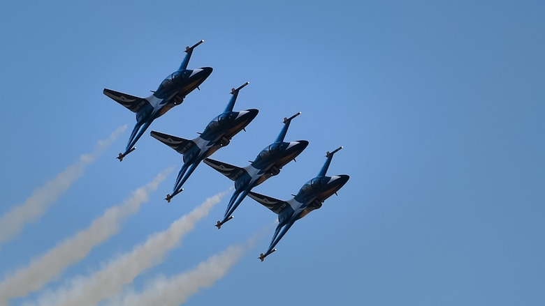 The Republic of Korea Air Force's 53rd Demonstration Group, the Black Eagles, perform at the Gyeongnam Sacheon Aerospace Expo at Sacheon Air Base, South Korea, Oct. 25, 2018.