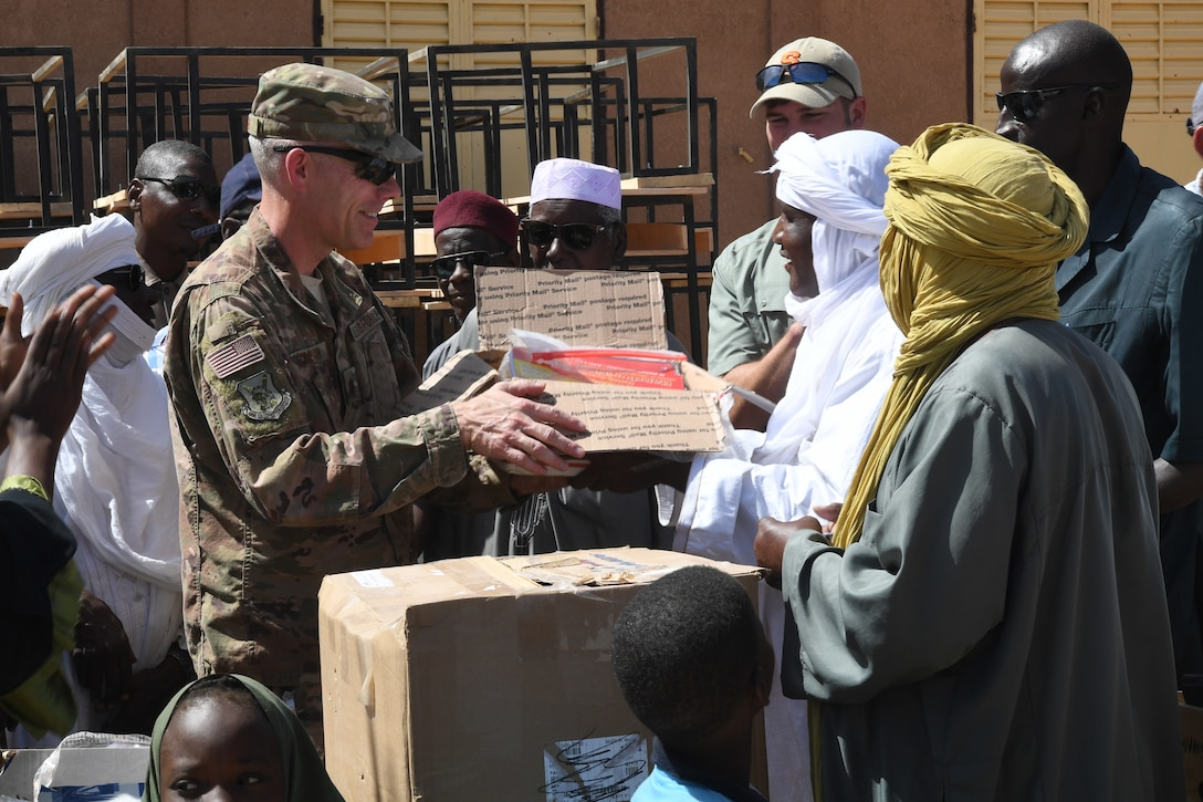 Approximately 300 desks were delivered to Misrata Primary School in Agadez, Niger, as part of a donation coordinated by U.S. Army Civil Affairs Team 203 at Nigerien Air Base 201 Oct. 23.