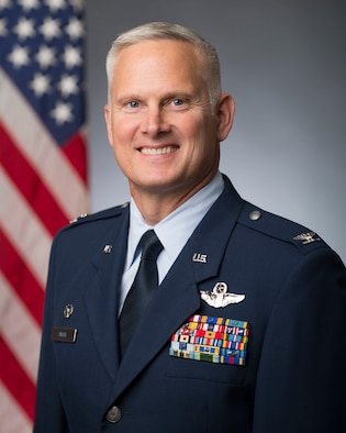 Official portrait of Colonel David Smith, Wing Commander of the 158th Fighter Wing.