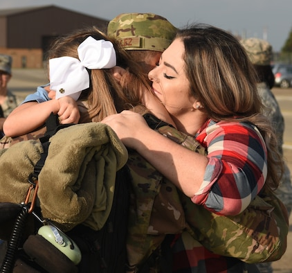 48th Fighter Wing Airmen reunite with their families at Royal Air Force Lakenheath, England, Oct. 16, 2018. F-15E Strike Eagles and Airmen from the 494th Fighter Squadron and supporting units across the 48th Fighter Wing returned from a six-month deployment to an undisclosed location in Southwest Asia. (U.S. Air Force photo by Senior Airman John A. Crawford)