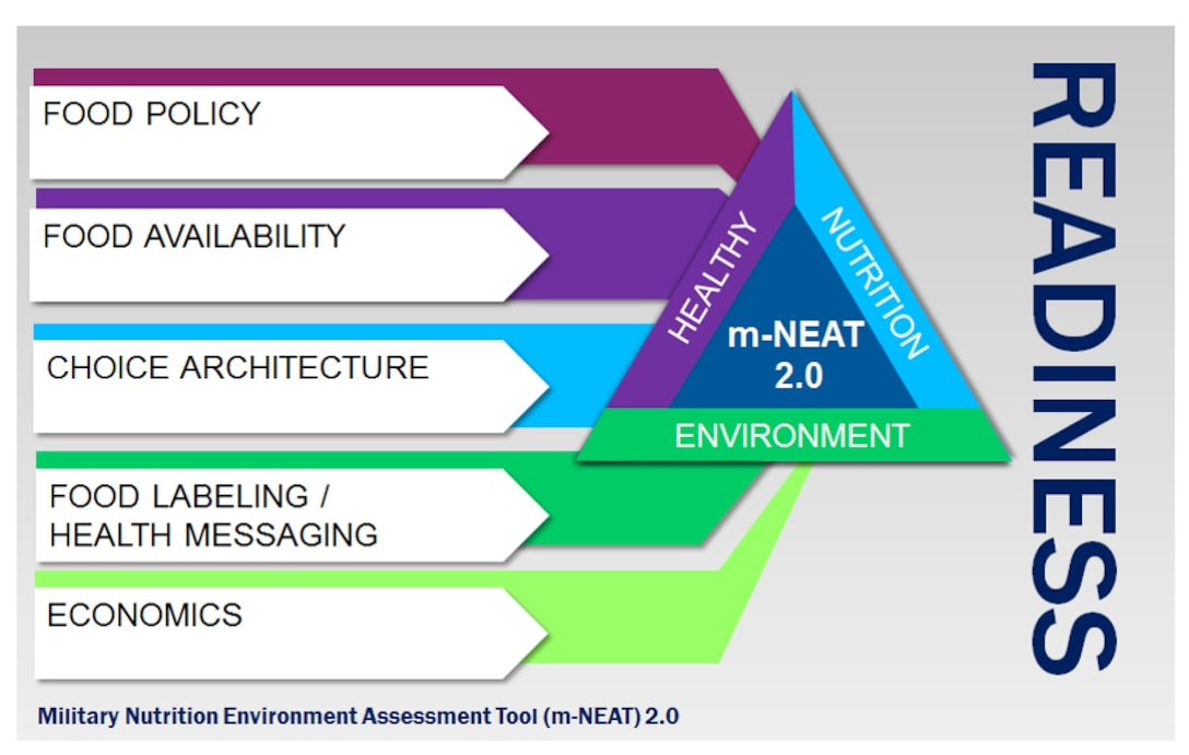 The Air Force Medical Support Agency has employed an updated version of the Military Nutrition Environment Assessment Tool, or m-NEAT 2.0, to assess an installation's nutrition environment and policies related to promoting and supporting healthy among Airmen. The tool looks at food policy, availability, choice architecture, health messaging and food labeling, and economics and community outreach. The goal of this assessment is to help develop targeted interventions and allow Airmen to make healthy choices. (Courtesy illustration)