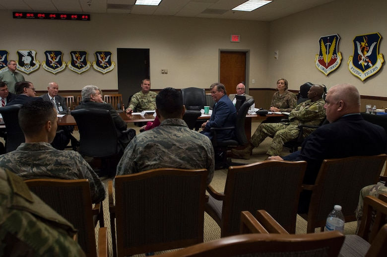 Col. Jennifer Short, 23d Wing commander, talks with members of the Moody Community Partnership Committee meeting (MCPC), during a meeting, Oct. 24, 2018. The MCPC creates mutually beneficial partnerships to help Moody and Lowndes County save money, which is permitted through the Air Force public-public, public-private, or P4 initiative.  (U.S. Air Force photo by Senior Airman Janiqua P. Robinson)