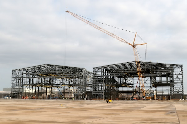 Tulsa District, U.S. Army Corps of Engineer contractors work to construct a two bay hangar for the Boeing KC-46A at Tinker Air Force Base, August 15, 2018.  Constructed on a Boeing 767 airframe, the Pegasus is taller, longer and has a larger wingspan than the 707-based airframe of the KC-135 Stratotanker.  Construction on the multi-phase KC-46A project at Tinker is expected to run through fiscal year 2029, with final construction providing hangar space for 14 separate KC-46A aircraft.  (Released/Official U.S. Army Photo By: Preston L. Chasteen)