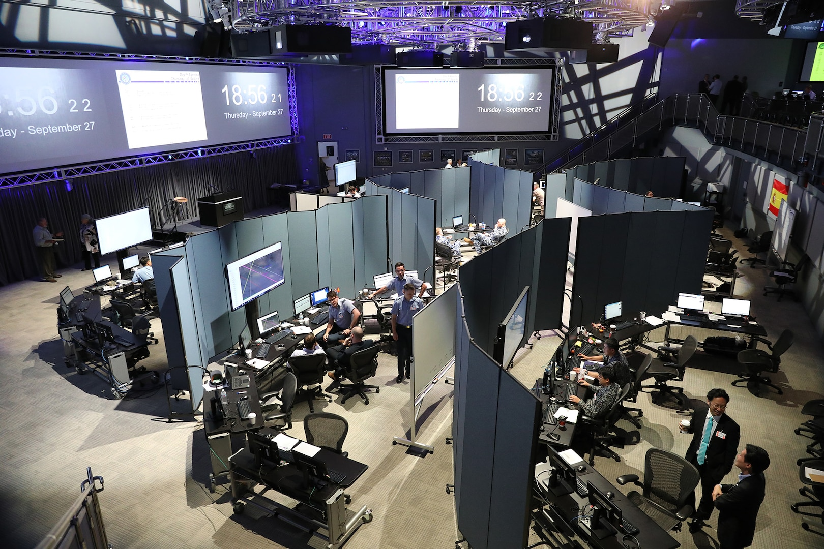 Participants conduct simulated space operations during the fifth international space experiment, Global Sentinel 2018 (GS 18), Sept. 19-28, at the Lockheed Martin Center for Innovation in Suffolk, Virginia. The event provided an opportunity to develop and implement processes for partners from Australia, Canada, France, Germany, Italy, Japan, the Republic of Korea, Spain, the United Kingdom, the United States, and commercial entities to collaborate on combined space situational awareness (SSA) operations in order to enhance the quality and availability of satellite tracking information.