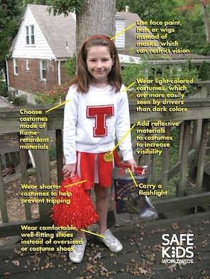 This costume is an example of a safe costume for kids to wear on Halloween, because it meets all safety requirements. (Photo courtesy of Safekids Worldwide)