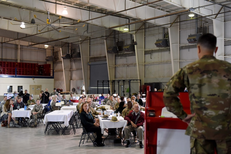 U.S. Air Force Col. Ricky Mills, 17th Training Wing commander, speaks during Retiree Appreciation Day at the Louis F. Garland Department of Defense Fire Academy on Goodfellow Air Force Base, Texas, Oct. 25, 2018. Mills thanked the military retirees for their service. (U.S. Air Force photo by Senior Airman Randall Moose/Released)