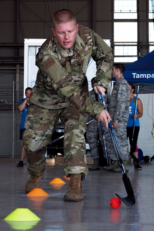 U.S. Air Force 2nd Lt. Roger Zehr, the officer in charge of intelligence training assigned to the 6th Operation Support Squadron, practices stick handling skills at MacDill Air Force Base, Florida, Oct. 25, 2018.