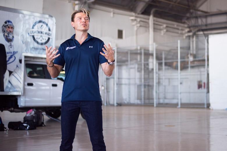 Former Tampa Bay Lightning player, Ruslan Fedotenko, talks about hockey fundamentals at MacDill Air Force Base, Florida, Oct. 25, 2018.