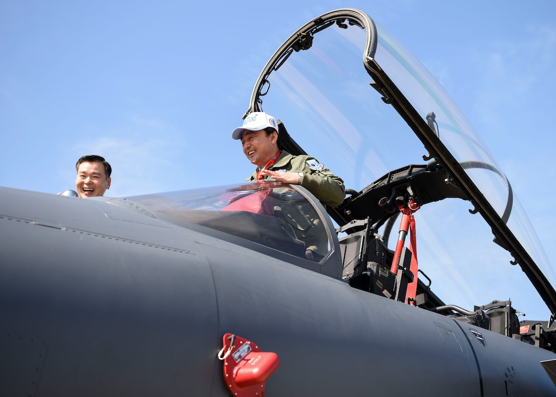 A member of the Republic of Korea National Defense Committee sits in the cockpit of a ROK Air Force F-15K Slam Eagle at Osan Air Base, ROK, Oct. 25, 2018. The NDC received a variety of ROK status reports and participated in an aircraft and munitions display tour. (U.S. Air Force photo by Airman 1st Class Ilyana A. Escalona)