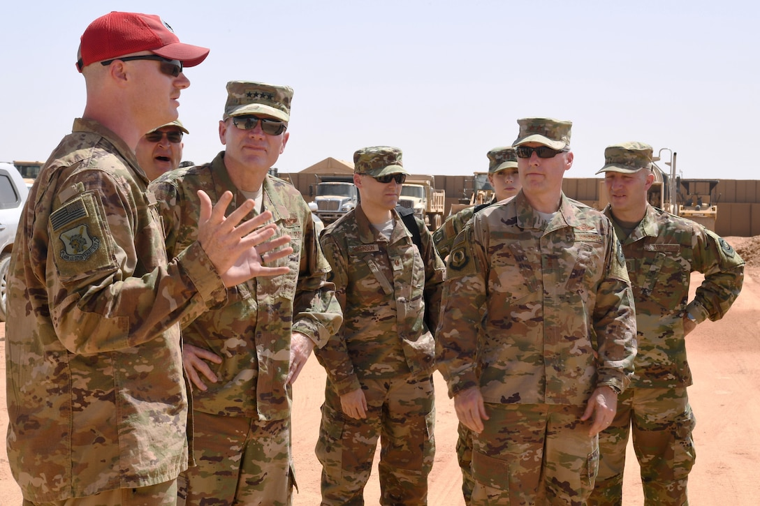 U.S. Air Force Gen. Tod D. Wolters, U.S. Air Forces in Europe-Air Forces Africa commander, and leaders from U.S. Air Forces in Europe-Air Forces Africa, 3rd Air Force, and the 435th Air Expeditionary Wing discuss operations at Nigerien Air Base 201, Niger, Oct. 25, 2018. The tour allowed USAFE-AFAFRICA leadership to see progress at the construction sites and base facilities first-hand. (U.S. Air Force photo by Tech. Sgt. Rachelle Coleman)