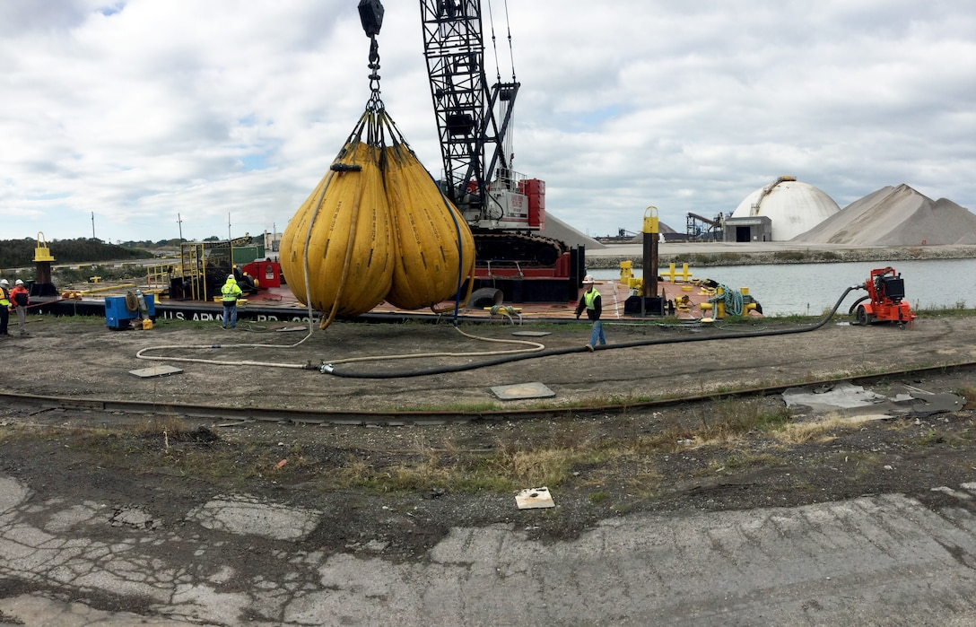 The U.S. Army Corps of Engineers, Buffalo District conducted a load test for a crane that was recently installed on the former McCauley in Ashtabula Harbor, Ohio,  October 16, 2018. The load test will establish if the barge crane is safe to operate in water, which will allow for the continuation of critical federal infrastructure maintenance in the Great Lakes by the Buffalo District floating plant crew.