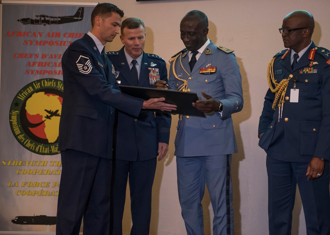General Tod Wolters, USAFE-AFAFRICA Commander, led the 8th African Air Chiefs Symposium in Marrakech, Morocco from 22-23 Oct. The U.S., along with 28 African nations, met together to discuss air security across Africa and ways to strengthen relationships and increase regional cooperation among partners in Africa. One highlight of the event was the signing of the Association of African Air Forces (AAAF) Charter by Cameroon, Kenya and Zambia, bringing the total number of participating nations to 23. The AAAF a voluntary and non-political organization for African air forces that helps strengthen the bonds of friendship, cooperation and mutual support among its members.