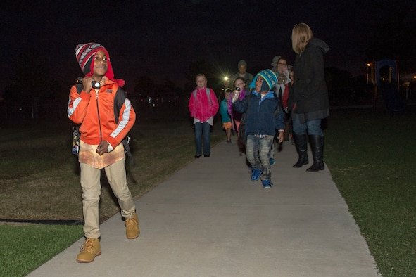 Students arrive at L. Mendel Rivers Elementary School after a 'Walk to School Day' event, October 24, 2018, at Altus Air Force Base, Okla.