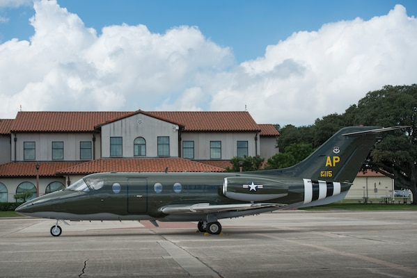 Assigned to the 45tst Flying Training Squadron in Pensacola, Florida is a T-1A Jayhawk with a paint scheme to resemble a WWII B-26 Marauder bomber, parked in front of Randolph Air Force Base Operations, Texas, October 5, 2018. The 451st FTS requested to have the original color, markings and insignia to match that which the 322nd Bomb Group applied to their 451st Bomb Squadron B-26 fleet for the D-Day bombings. (U.S. Air Force photo by Sean Worrell)